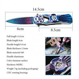 Chongming Fidget Spinner Pisau Saku Lipat Portable Knife Survival Tool EDC - CM76 - Purple - 3