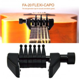 Black Flanger Flexi Capo Gitar Alternative Tuning - FA-20 - Black