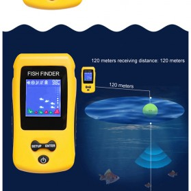 LUCKY Alat Pelacak Ikan Wireless Sonar Fish Finder Sonar - FF1108-CW - Yellow