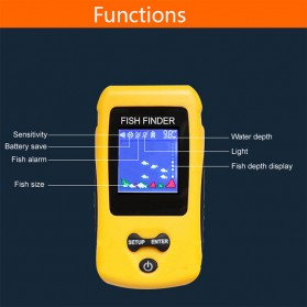 LUCKY Alat Pelacak Ikan Wireless Sonar Fish Finder Sonar - FF1108-CW - Yellow - 2