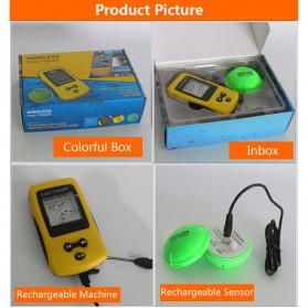 LUCKY Alat Pelacak Ikan Wireless Sonar Fish Finder Sonar - FF1108-CW - Yellow - 3