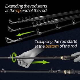 KastKing BlackHawk II Joran Pancing Carbon Fiber Spinning Rod 2.23M - Black - 5
