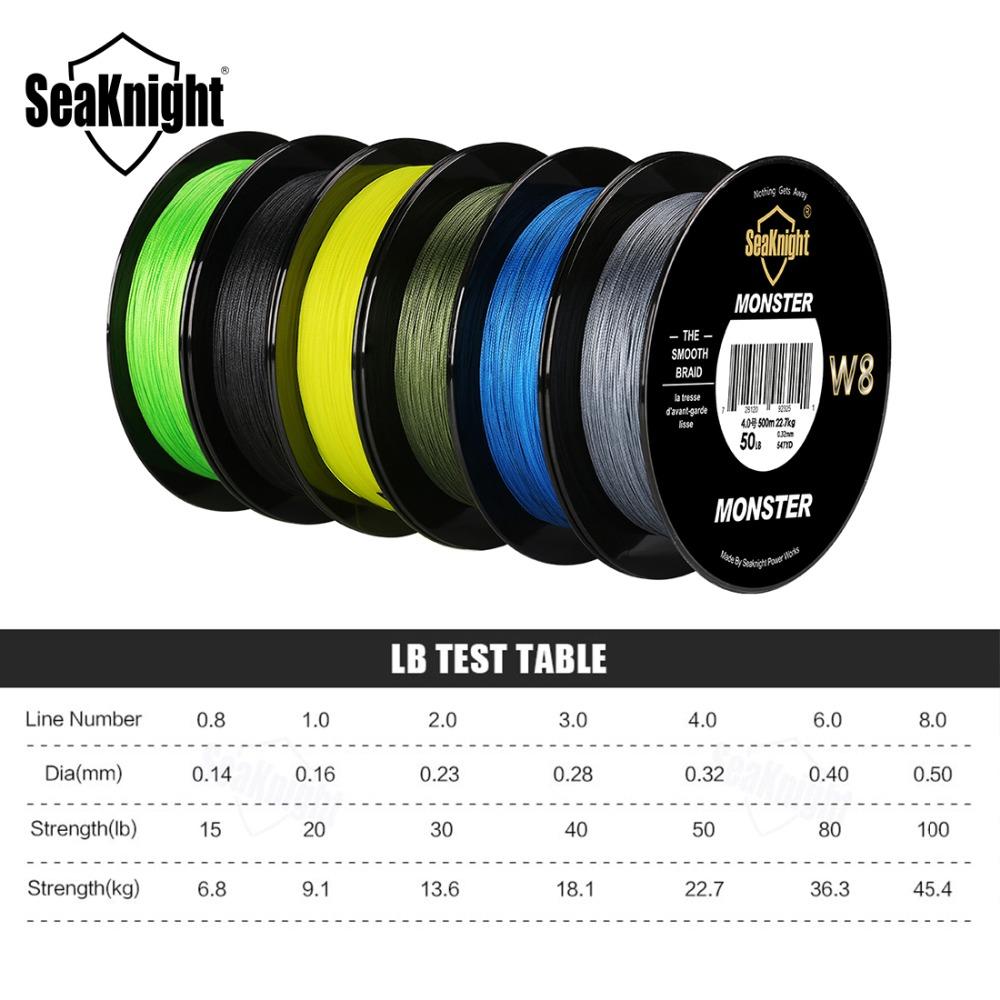 Seaknight Monster W8 Senar Tali Pancing 8 Strands 05mm 500 Meter 100 Line
