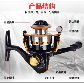 Debao DE150 Spinning Reel Pancing 5.2:1 10 Ball Bearing - Black - 8