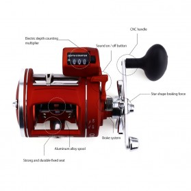 YUMOSHI AC600 30D Reel Pancing 12 Ball Bearing with Electric Depth Counting - Red - 6