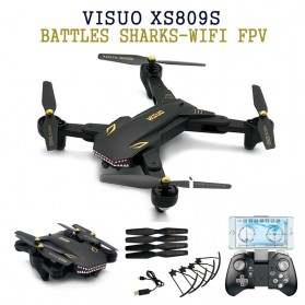Drone Profesional - Visuo Battle Shark Quadcopter Drone WiFi 2MP Camera - XS809S-H-W-G - Black