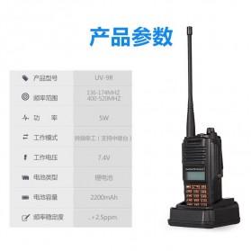 Taffware Walkie Talkie Dual Band 5W 16CH UHF+VHF - UV-9R - Black - 9