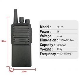 Taffware Walkie Talkie Single Band 5W 16CH UHF - BF-C5 - Black - 2