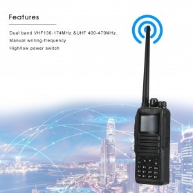 Taffware Walkie Talkie Dual Band Two Way Radio 5W 3000CH UHF+VHF - DM-1701 - Black - 6