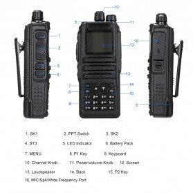Taffware Walkie Talkie Dual Band Two Way Radio 5W 3000CH UHF+VHF - DM-1701 - Black - 7