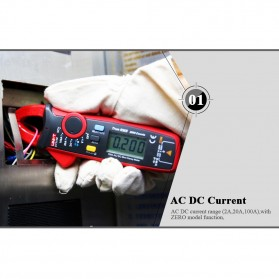 UNI-T RMS Mini Digital Clamp Meters NVC Mulitmeter AC/DC - UT210E - Black/Red - 5