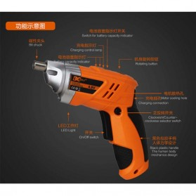DC Tools Obeng Listrik Cordless Screwdriver 4.8V 52 in 1 - S032 - Orange - 5