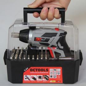 DC Tools Obeng Listrik Cordless Screwdriver 3.6V 52 in 1 - S033 - Silver