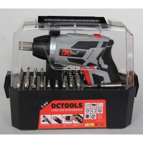 DC Tools Obeng Listrik Cordless Screwdriver 3.6V 52 in 1 - S033 - Silver - 9