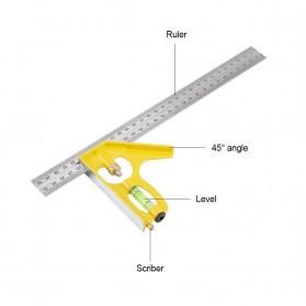 YUDA KKMOON Combination Square Mistar Penggaris Siku Tukang Multifungsi - 150ZJ9 - Yellow - 2