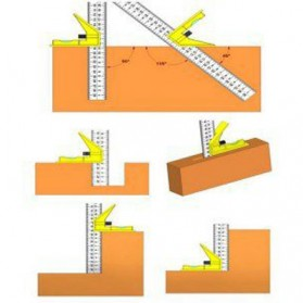 YUDA KKMOON Combination Square Mistar Penggaris Siku Tukang Multifungsi - 150ZJ9 - Yellow - 5