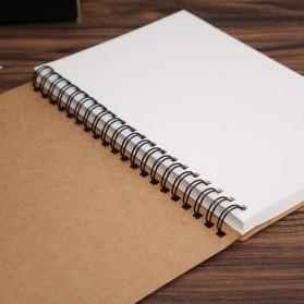 JESJELIU Buku Diary Menggambar Sketchbook Drawing Memo Pad Notebook - BQ-N14 - Brown/White - 2