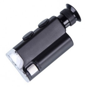 OUTAD Alat Cek Uang Palsu Pocket Microscope Magnifier 200-240x with UV Light - 7752 - Black