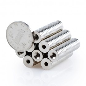 OLOEY Strong Neodymium Magnet NdFeB Countersunk Ring Hole N52 30 PCS - D20 - Silver - 4