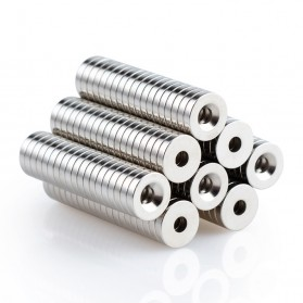 OLOEY Strong Neodymium Magnet NdFeB Countersunk Ring Hole N52 30 PCS - D20 - Silver - 6