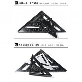 VKTECH Penggaris Siku Mistar Triangle Ruler Aluminium 7 inch - A10D01 - Black - 3