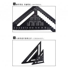 VKTECH Penggaris Siku Mistar Triangle Ruler Aluminium 7 inch - A10D01 - Black - 4