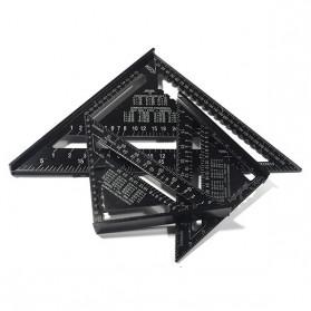 VKTECH Penggaris Siku Mistar Triangle Ruler Aluminium 7 inch - A10D01 - Black