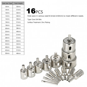 MPT Mata Bor Diamond Coated Hole Saw Drill Bit 6mm-50mm 16 PCS - DK650 - Silver - 6