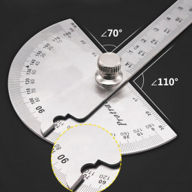 Protractor Penggaris Jangka Roundhead Measuring Ruler Aluminium 14.5cm 180 Degree - PR180 - Silver