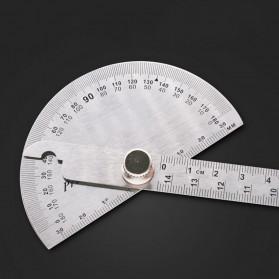 Protractor Penggaris Jangka Roundhead Measuring Ruler 14.5cm 180 Degree - PR180 - Silver - 2