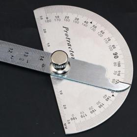 Protractor Penggaris Jangka Roundhead Measuring Ruler 14.5cm 180 Degree - PR180 - Silver - 4