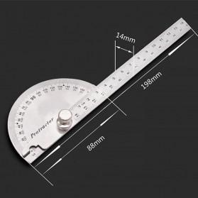Protractor Penggaris Jangka Roundhead Measuring Ruler 14.5cm 180 Degree - PR180 - Silver - 5