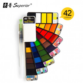 Superior Kuas Gambar + Cat Lukis Solid Watercolor 42 Warna - XP001 - Multi-Color