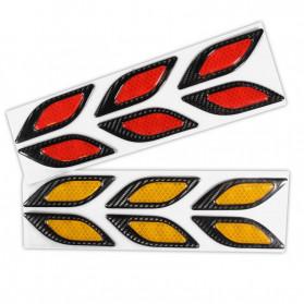LARATH Carbon Fiber Car Sticker Auto Warning Decal Car Accessories Reflective Strips 6PCS - 1183 - Yellow - 5