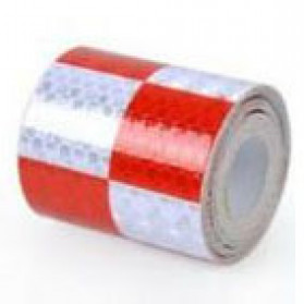 TaffPACK Nano Car Reflective Sticker Warning Strip Tape Two Color Trunk Exterior 5x300cm - White/Red - 1