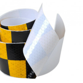 TaffPACK Nano Car Reflective Sticker Warning Strip Tape Two Color Trunk Exterior 5x300cm - White/Blue - 5