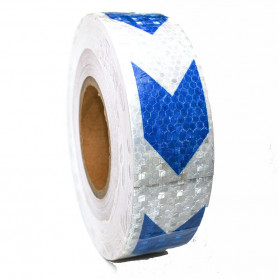 Taffpack Reflective Sticker Marker Mobil Truk Arrow Pattern 5cm 3 Meter - 68 - White/Blue