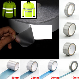 NCIBUIN Reflective Sticker Jaket Pakaian Heat Press 50mm 1 Meter - TXWT - Silver