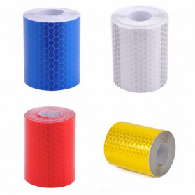 TaffPACK Nano Car Reflective Sticker Warning Strip Tape Color Trunk Exterior 5x100cm - Red/White - 2