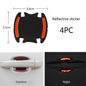 Seametal Reflective Sticker Gagang Pintu Mobil Car Door Handle Safety Warning Carbon Fiber 4PCS - 1185 - Red