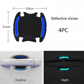 Seametal Reflective Sticker Gagang Pintu Mobil Car Door Handle Safety Warning Carbon Fiber 4PCS - 1185 - Blue - 1