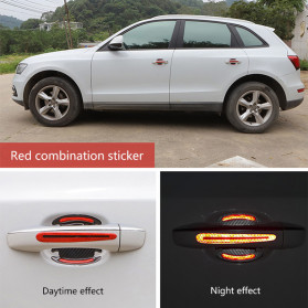 Seametal Reflective Sticker Gagang Pintu Mobil Car Door Handle Safety Warning Carbon Fiber 4PCS - 1185 - Blue - 2
