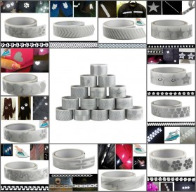 DUUTI Sticker Lucu Reflective Press Pakaian Serbaguna Size 50mm x 1m Model M02 - Silver - 2