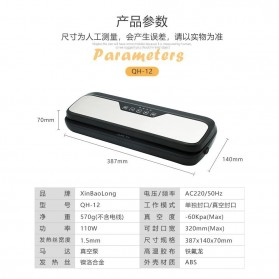 XinBaoLong Pompa Vacuum Sealer Air Sealing Food Packing Preservation Stainless Steel - QH-12 - Black - 10