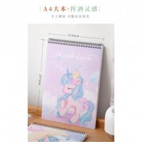 BUKE Buku Diary Menggambar Sketchbook Drawing Memo Pad Notebook A4 - FPL78 - Pink