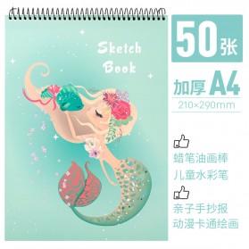 BUKE Buku Diary Menggambar Sketchbook Drawing Memo Pad Notebook A4 - FPL78 - Tosca