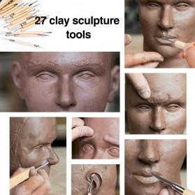 TOOKIE Set Pisau Ukir Pahat Tembikar Ceramic Clay Pottery Sculpting 30 PCS - KSJ-13 - Brown - 8