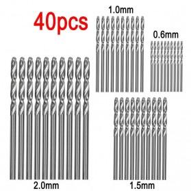JIGONG Mata Bor Drill HSS Twist Drill Bit 0.6-2.0mm 40 PCS - QST-H20 - Silver