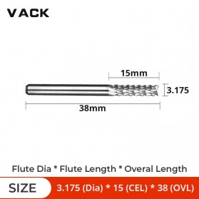 VACK Mata Bor Tungsten Carbide Drill Bit 3.175x15x38mm - R2 - Silver