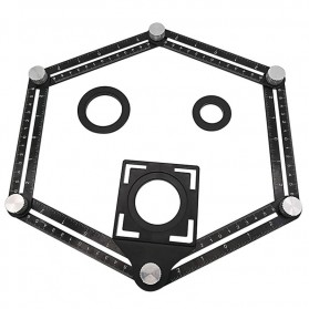 Keuriger Alat Bantu Penanda Six Sided Ruler Measuring Instrument With Hole Locator - A50 - Black - 2